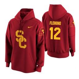 USC Trojans #12 Devin Fleming Men's Cardinal College Basketball Hoodie