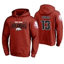 Arkansas Razorbacks #13 Dustin Thomas Men's Cardinal College Basketball Hoodie