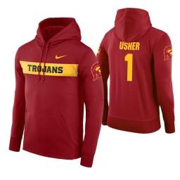 USC Trojans #1 Jordan Usher Men's Cardinal Pullover Hoodie