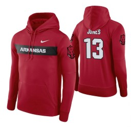Arkansas Razorbacks #13 Mason Jones Men's Cardinal Pullover Hoodie