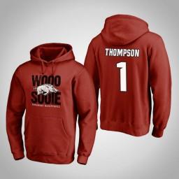 Arkansas Razorbacks #1 Trey Thompson Men's Cardinal Team Hometown Collection Pullover Hoodie