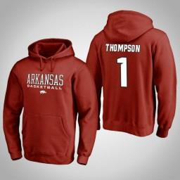 Arkansas Razorbacks #1 Trey Thompson Men's Cardinal College Basketball Hoodie