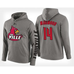 Louisville Cardinals #14 Anas Mahmoud Gray Hoodie College Basketball