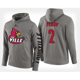 Louisville Cardinals #2 Darius Perry Gray Hoodie College Basketball