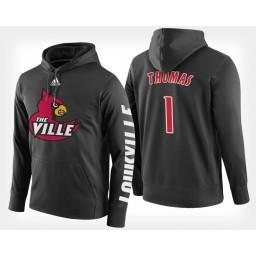 Louisville Cardinals #1 Lance Thomas Black Hoodie College Basketball