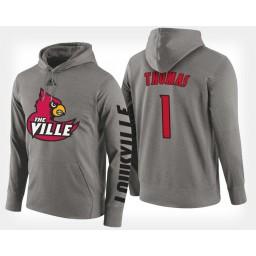 Louisville Cardinals #1 Lance Thomas Gray Hoodie College Basketball