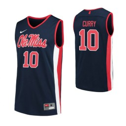 Youth Ole Miss Rebels #10 Carlos Curry Navy Authentic College Basketball Jersey