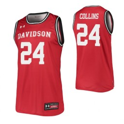 Carter Collins Authentic College Basketball Jersey Red Davidson Wildcats