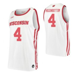 Carter Higginbottom Authentic College Basketball Jersey White Wisconsin Badgers
