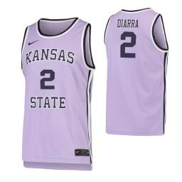 Kansas State Wildcats #2 Cartier Diarra Purple Authentic College Basketball Jersey