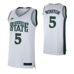 Michigan State Spartans #5 Cassius Winston White Authentic College Basketball Jersey
