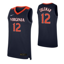 Youth Chase Coleman Authentic College Basketball Jersey Navy Virginia Cavaliers