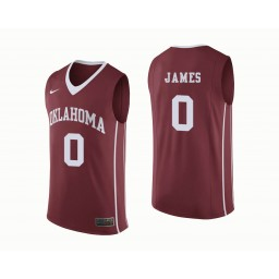Youth Oklahoma Sooners #0 Christian James Authentic College Basketball Jersey Crimson