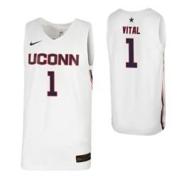 Women's UConn Huskies #1 Christian Vital White Authentic College Basketball Jersey