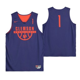Clemson Tigers Purple Team-Issued #1 Authentic College Basketball Jersey from the Basketball Program