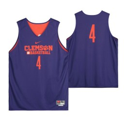 Clemson Tigers Purple Team-Issued #4 Authentic College Basketball Jersey from the Basketball Program