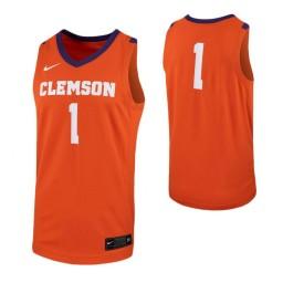 Clemson Tigers #1 Authentic College Basketball Jersey Orange