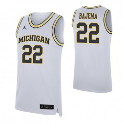 Youth Cole Bajema Authentic College Basketball Jersey White Michigan Wolverines