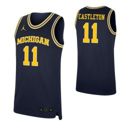 Youth Colin Castleton Authentic College Basketball Jersey Navy Michigan Wolverines