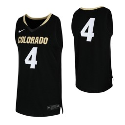 Colorado Buffaloes #4 Authentic College Basketball Jersey Black