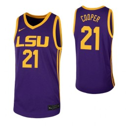 Courtese Cooper Authentic College Basketball Jersey Purple LSU Tigers