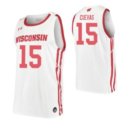 Courtland Cuevas Authentic College Basketball Jersey White Wisconsin Badgers