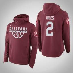 Oklahoma Sooners #2 Chris Giles Men's Crimson College Basketball Hoodie