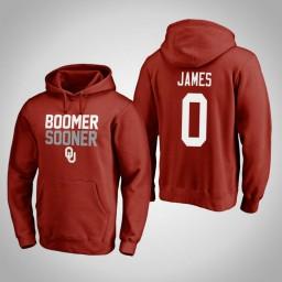 Oklahoma Sooners #0 Christian James Men's Crimson Pullover Hoodie