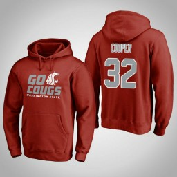 Washington State Cougars #32 Davante Cooper Men's Crimson Team Hometown Collection Pullover Hoodie