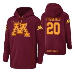 Minnesota Golden Gophers #20 Davonte Fitzgerald Men's Crimson College Basketball Hoodie