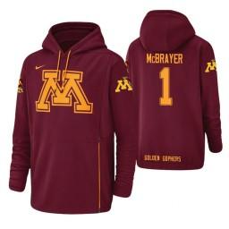 Minnesota Golden Gophers #1 Dupree McBrayer Men's Crimson College Basketball Hoodie