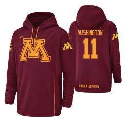 Minnesota Golden Gophers #11 Isaiah Washington Men's Crimson College Basketball Hoodie