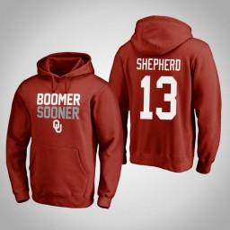 Oklahoma Sooners #13 Jordan Shepherd Men's Crimson Pullover Hoodie