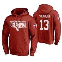 Oklahoma Sooners #13 Jordan Shepherd Men's Crimson College Basketball Hoodie
