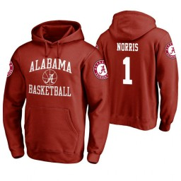 Alabama Crimson Tide #1 Riley Norris Men's Crimson College Basketball Hoodie