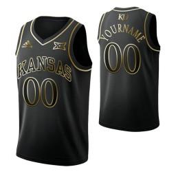 Kansas Jayhawks Custom College Basketball Golden Edition Jersey Black