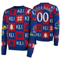 Custom Kansas Jayhawks Royal Pullover Sweater Patches Ugly