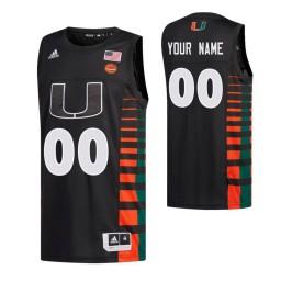 Miami Hurricanes 00 Custom College Basketball Authentic Jersey Black