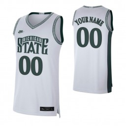 Michigan State Spartans 00 Custom College Basketball Retro Limited Jersey White