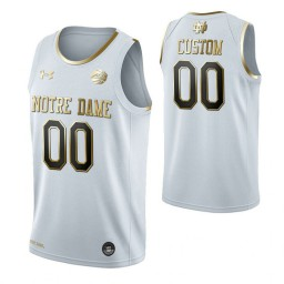 Notre Dame Fighting Irish Custom College Basketball Golden Edition Jersey White