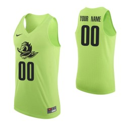 Men's Oregon Ducks Custom College Basketball Authentic Jersey Apple Green