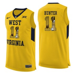 Women's West Virginia Mountaineers #11 D'Angelo Hunter Authentic College Basketball Jersey Yellow