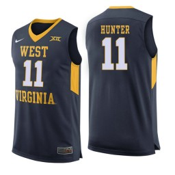 Women's West Virginia Mountaineers #11 D'Angelo Hunter Authentic College Basketball Jersey Navy