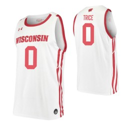 D'Mitrik Trice Authentic College Basketball Jersey White Wisconsin Badgers