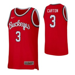 Women's D.J. Carton Authentic College Basketball Jersey Scarlet Ohio State Buckeyes