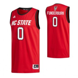 Youth NC State Wolfpack #0 D.J. Funderburk Red Authentic College Basketball Jersey