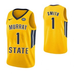 Women's Murray State Racers #1 DaQuan Smith Authentic College Basketball Jersey Yellow