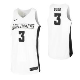Women's David Duke Authentic College Basketball Jersey White Providence Friars