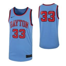 Dayton Flyers #33 Authentic College Basketball Jersey Light Blue