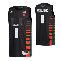 Youth Miami Hurricanes #1 Dejan Vasiljevic Black Authentic College Basketball Jersey